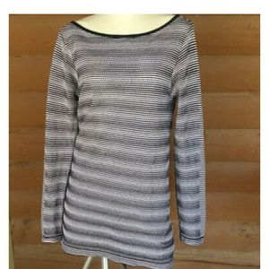 Athleta striped boatneck knit long sleeve tee